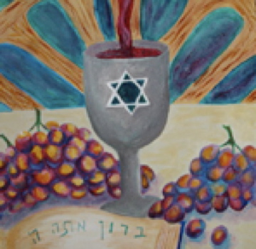 Trish Jewish Painting of Shabbat Wine Kidush Cup