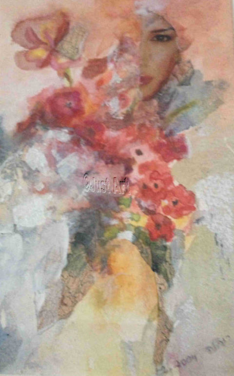 Abstract Red Flowers - Rachel Wolman Art