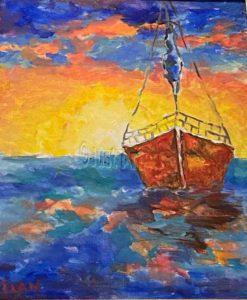 At Sea - Ilan Sela Painting