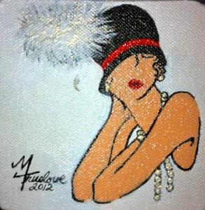 Flapper In Black Hat -Mary Truelove Texas Artist