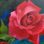 Mary Truelove Red Rose Oil Texas Artist