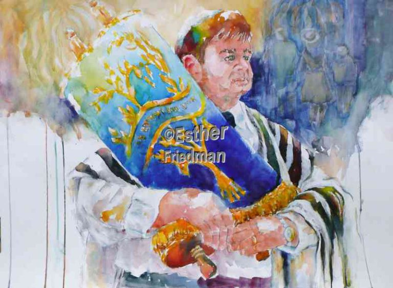 Rabbi Holding Torah - Esther Friedman Jewish Art