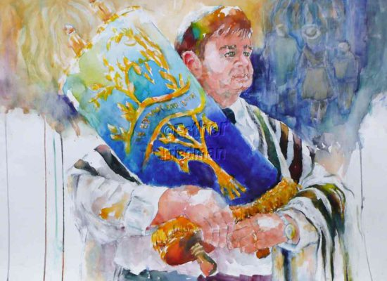 Rabbi Holding Torah - Esther Friedman Jewish Art