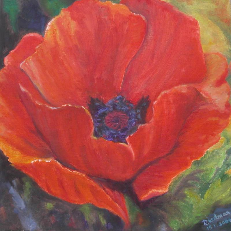 Red Anemone - Rachel Wolman Painting